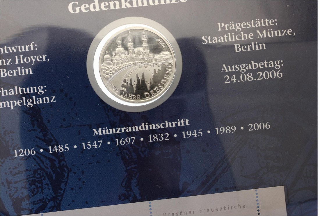 2006 10 Euro 800 Jahre Dresden Numisbrief Ma Shops