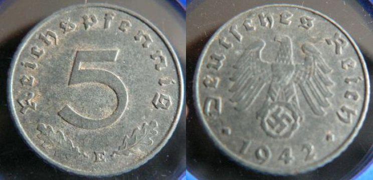 5 Pfennig 1942 E Drittes Reich Ss Ma Shops