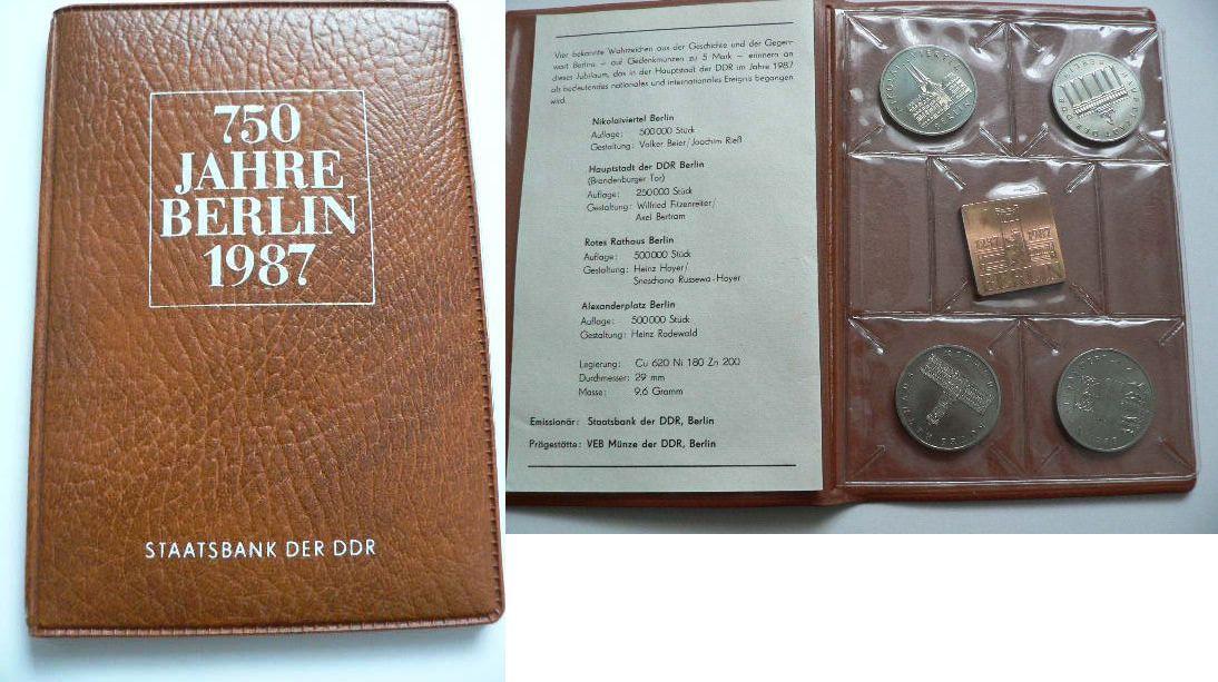 1987 Ddr 4 X 5 Mark 750 Jahre Berlin Ddr 1987 Münzensatz St St Ma