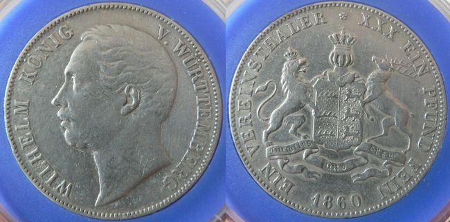 Vereinstaler 1860 Württemberg Wilhelm König Von Württemberg Ss Ma