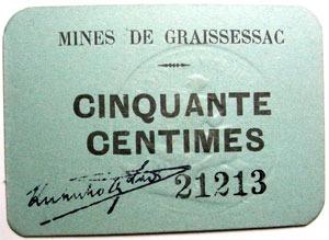 carton 1925 01 25 numismatique des mines mines de graissessac carton de cinquante centimes. Black Bedroom Furniture Sets. Home Design Ideas