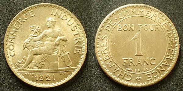 Bon pour 1 franc 1921 france 1 francs chambre de commerce for Chambre de commerce de france bon pour 2 francs