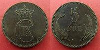 Danemark, Denmark  Danemark, Denmark, Christian IX, 5 ores 1882, KM.794.1 TTB+