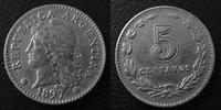 1897 Argentine, Agentina ARGENTINE, ARGENTINA, 5 centavos 1897, KM.34 ... 6.22 US$ 5,50 EUR  +  9.62 US$ shipping