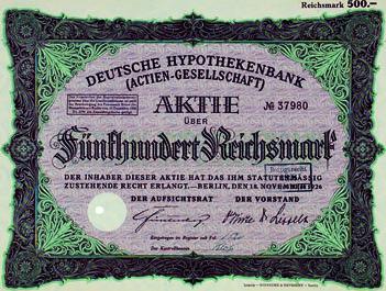 500 rm 1926 deutschland deutsche hypothekenbank ag. Black Bedroom Furniture Sets. Home Design Ideas