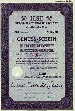 Genuss Schein Ber 100 RM 1942 Deutschland Ilse Bergbau AG Mrz II