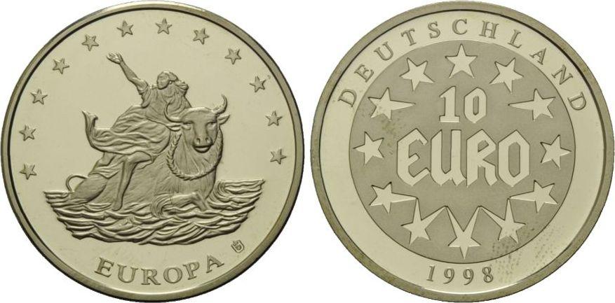 10 Euro 1998 Deutschland 10 Euro Medaille Europa Auf Dem Stier L