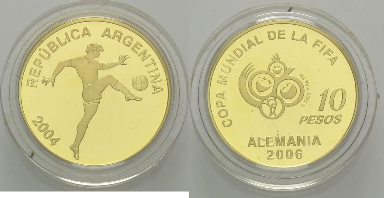 10 Pesos Medaille 2004 Argentinien Fußball Weltmeisterschaft