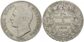 Doppeltaler 1843, Württemberg, Wilhelm I., 1816-1864, ss