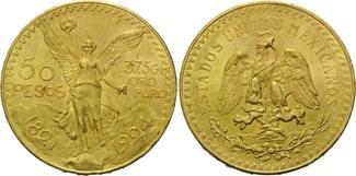 50 Pesos 1924, Mexiko, Centenario, vz-st, Rdf.