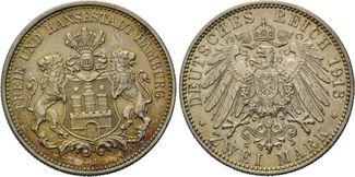 2 Mark 1913 J, Hamburg,  fleck.Patina, vz-st