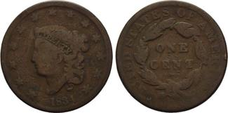 USA, Cent 1834, s-f.ss Braided Hair,