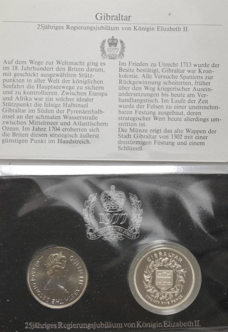 25 Pence 1977 Gibraltar 25 Jahrestag Der Krönung Von Elisabeth Ii