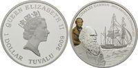 Tuvalu, 1 Dollar Charles Darwin, Segelschiff, mit Farbiger Applikation,