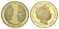 Großbritannien, 5 Pfund Hochzeit William und Kate am 29.04.2011. Vergoldet,