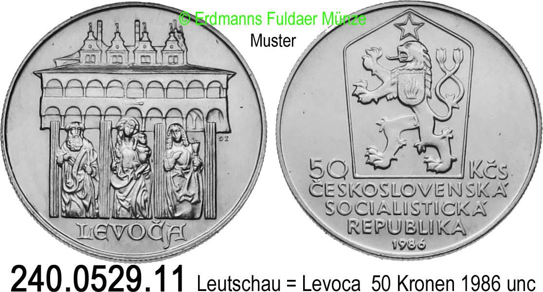 50 Kronen 1986 Tschechoslowakei 129 Km122 Leutschau Levoca
