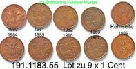 Canada Kanada 9x 1 Cent *58a + *59  9x Ahornblatt