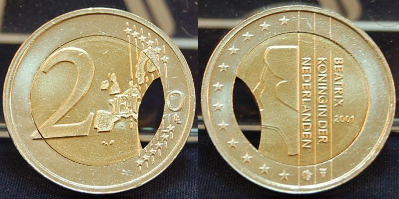 2 euro fehlpr gung pille mit zainende 2001 niederlande. Black Bedroom Furniture Sets. Home Design Ideas