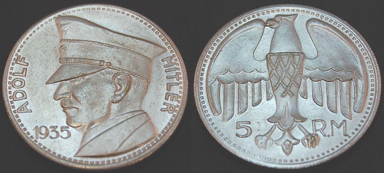 Versilberte Medaille 3reich Adolf Hitler 1935 5 R 1935 Deutschland