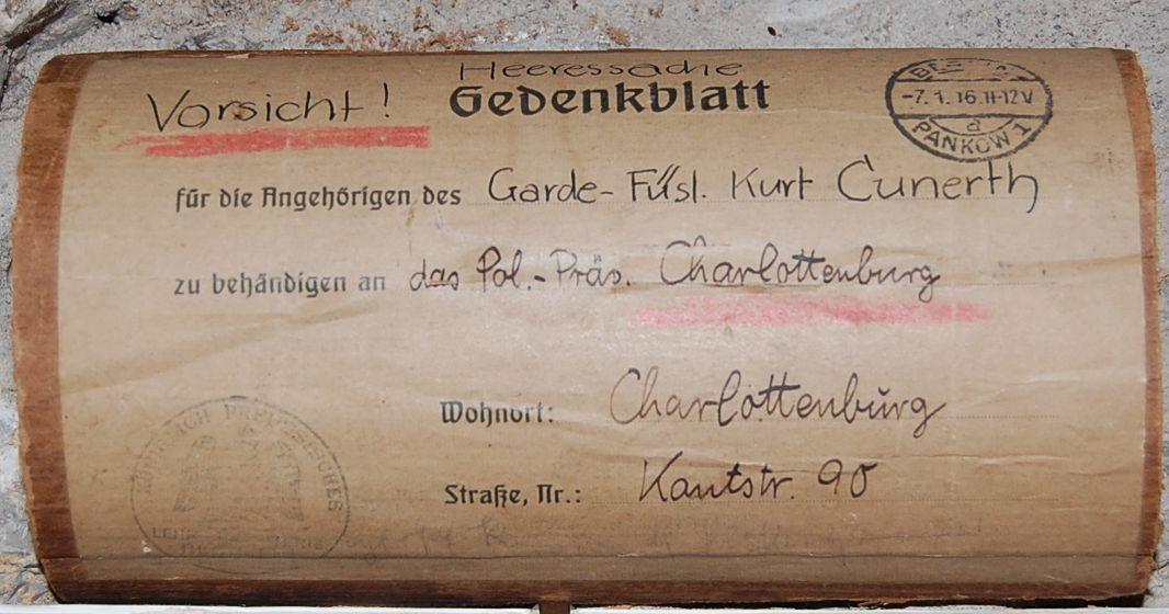 Gedenkblatt mit Versandvermerk 1916 Deutschland / Kaiserreich ...