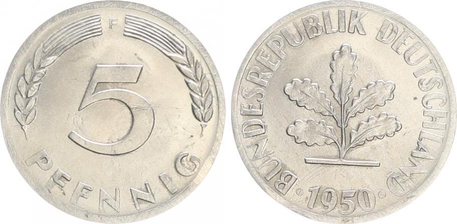 5 Pfennig Probe 1950 F Deutschland 5 Pfennig Bundesrepublik 1950 F