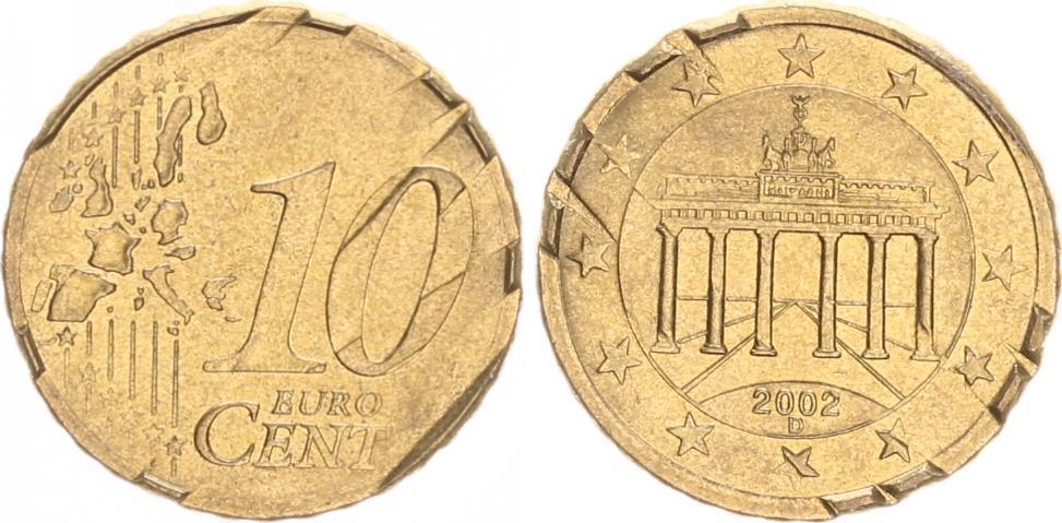 10 Cent Deutschland Probe Drehende Sterne 2002 D Deutschland 10
