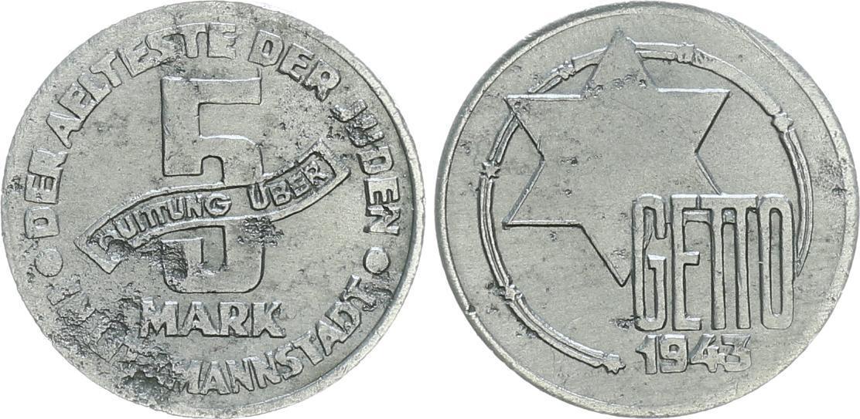 5 Mark 1943 Deutschland Polen Getto Litzmannstadt Getto