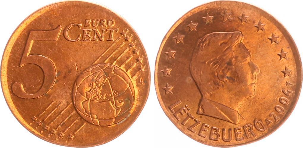 5 Cent Luxemburg Fehlprägung Auf 2 Cent 2004 Luxemburg Luxemburg 5