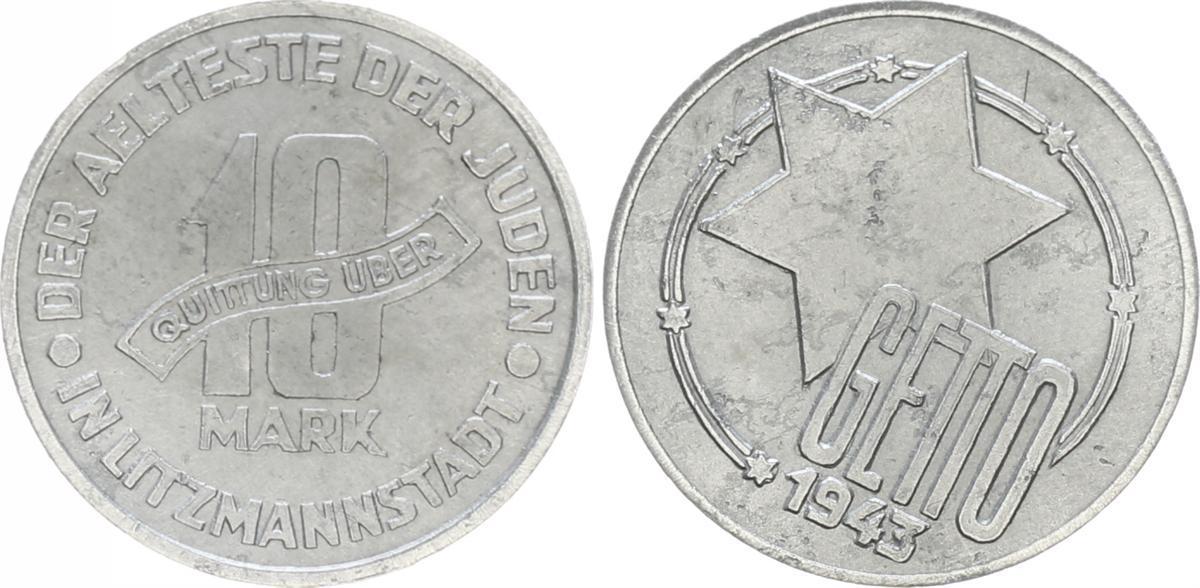 10 Mark Fehlprägung 1943 Deutschland / Polen / Getto Litzmannstadt ...