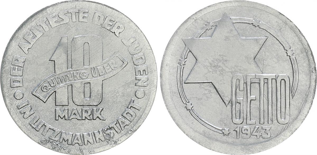 10 Mark Fehlprägung Extrem Leicht 1943 Deutschland Polen Getto