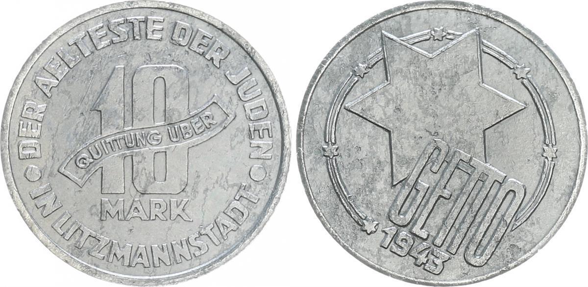 10 Mark Fehlprägung 1943 Deutschland Polen Getto Litzmannstadt