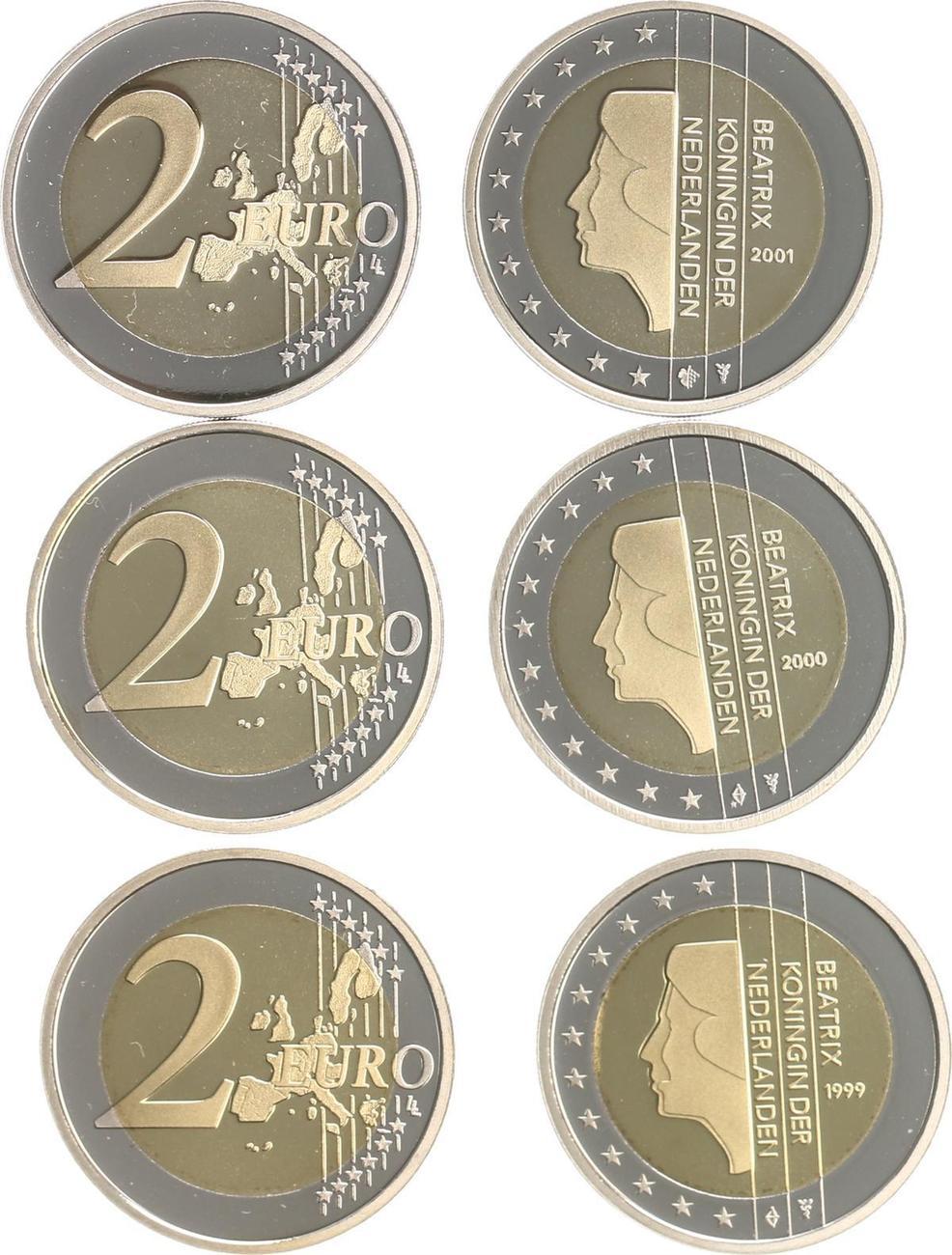 2 Euro 199920002001 Niederlande Niederlande 2 Euro Kursmünzen 1999