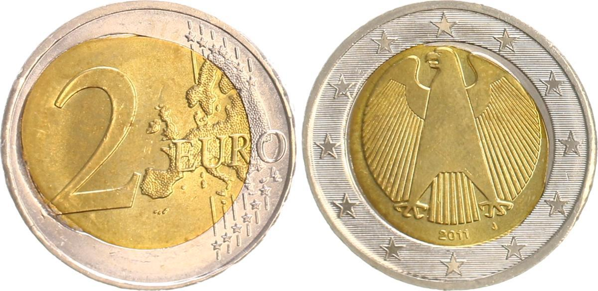 Fehlprägung 2 Euro Spiegelei 2011j Deutschland Bundesrepublik Deutschland Fehlprägung 2 Euro 2011j Spiegelei Fst Fast Stempelglanz