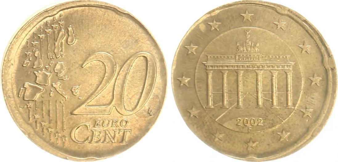 20 Cent Fehlprägung 2002 F Deutschland Bundesrepublik Deutschland