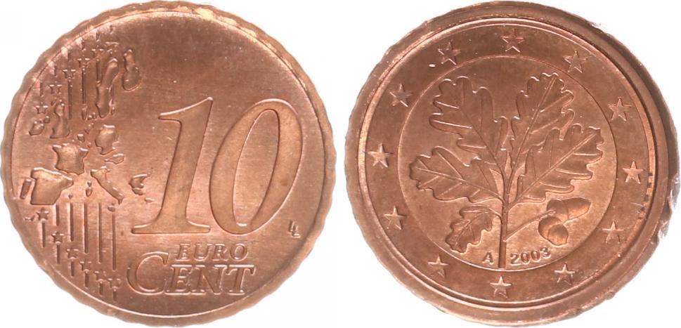 Probe Koppelung 10 Centrückseite 2 Cent 2003 A Deutschland