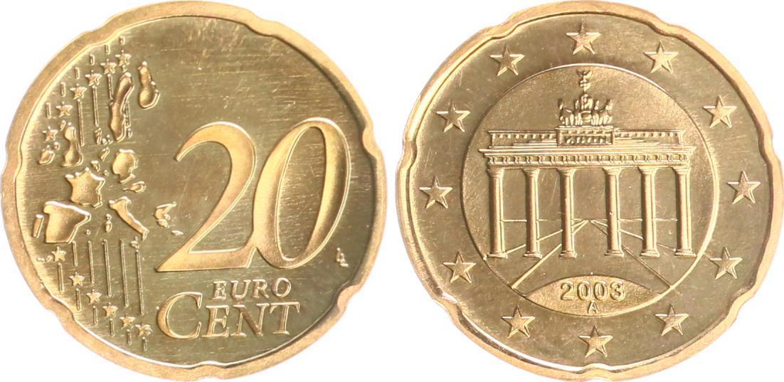 20 Cent Probefehlprägung Eisenmessing Plattiert 2003a Deutschland