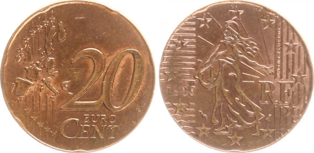 Fehlprägung 20 Cent Auf 5 Cent Rohling 1999 Frankreich Frankreich
