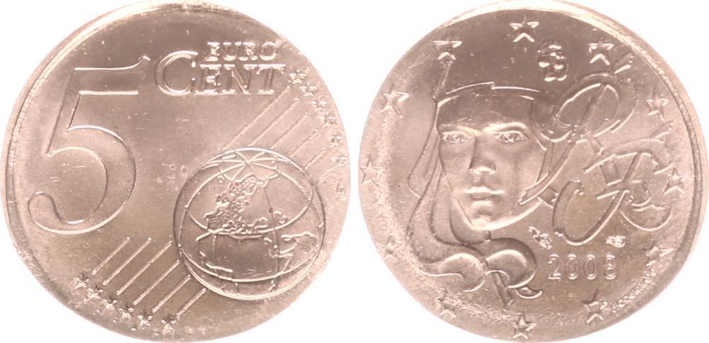 Fehlprägung 5 Cent Auf 2 Cent Schrötling 2008 Frankreich Frankreich