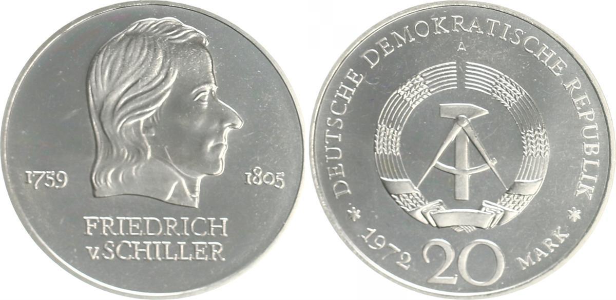 20 Mark Friedrich Schiller 1972 A Deutschland Ddr 20 Mark 1972 A
