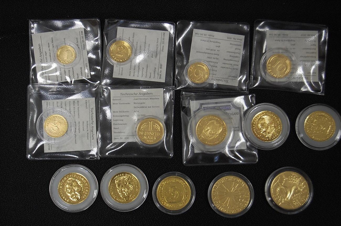 14 Münzen 1pf Bis 10 Dm Deutschland Brd Brd 14 Münzen 1pf Bis 2