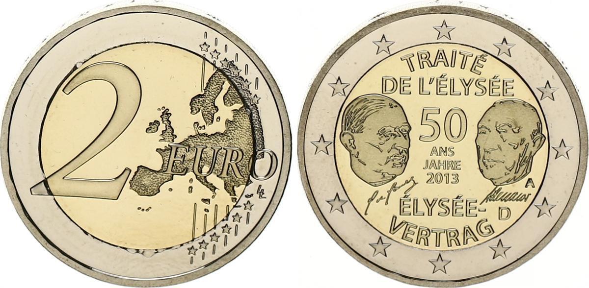 2 Euro Elysee Vertrag Fehlprägung 2013 A Bundesrepublik Deutschland