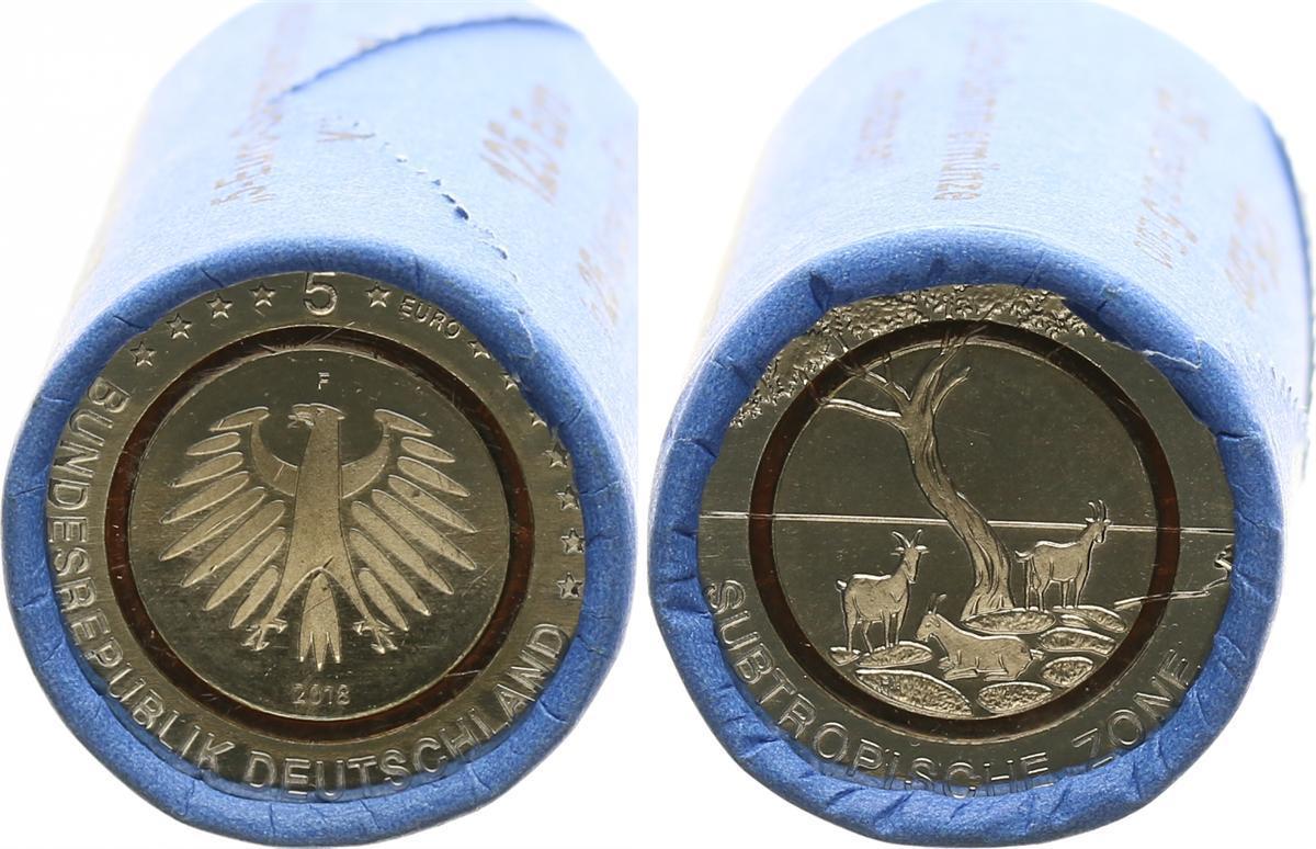 5 Euro Subrtopische Zone Originalrolle 25 Münzen 2018 F