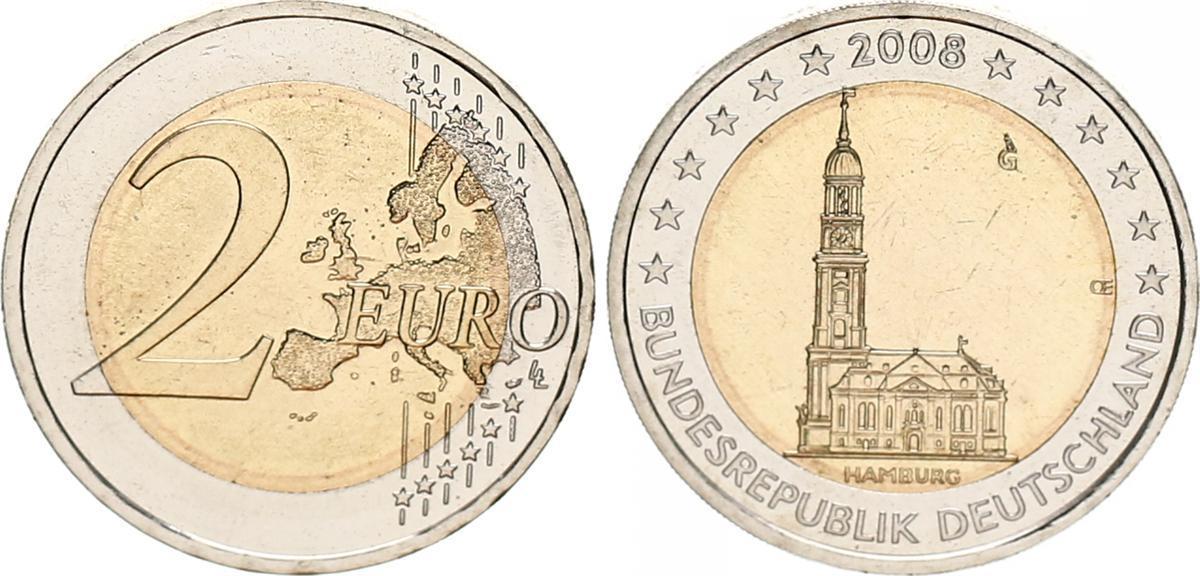 2 Euro 2008 G Bundesrepublik Deutschland Deutschland Fehlprägung 2