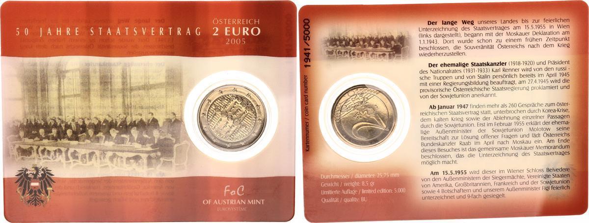 2 Euro 2005 österreich österreich 2 Euro Sonderprägung 2005 50 Jahre Staatsvertrag In Coincard St In Coincard