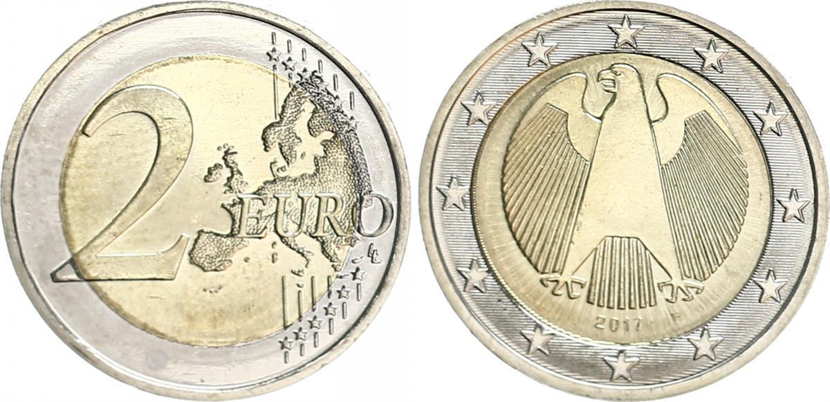 2 Euro Fehlprägung 2017 F Bundesrepublik Deutschland Deutschland 2