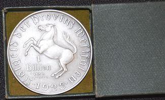 1 Billion Mark 1923 Nebengebiete / Westfalen Westfalen 1 Billion Mark 1923 Minister vom Stein  vz-st Originalschatulle vz-st Originalschatulle