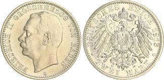2 Mark 1913 G Deutschland / Kaiserreich / Baden Baden 2 Mark J.38 1913 G Silbermünze Friedrich II. f.st f.st