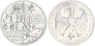 3 Reichsmark 1927 A Deutschland / Weimar 3 Reichsmark J.330 Universität Marburg 1927 A vz-st vz-st
