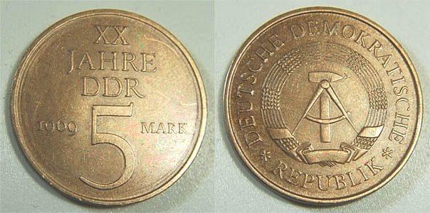 5 Mark 1969 Deutschland Ddr 5 Mark 20 Jahre Ddr 1969 Fehlprägung