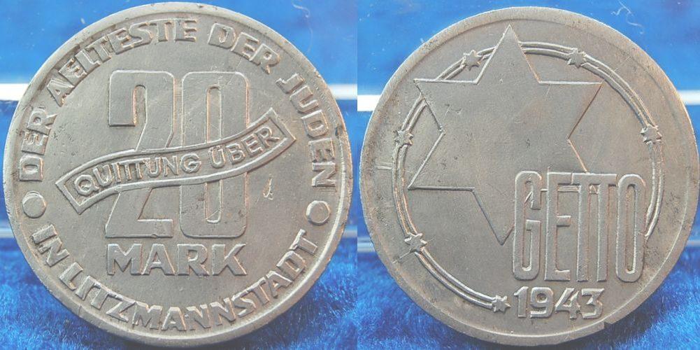 20 Mark Mit Echtheitszertifikat 1943 Deutschland Polen Getto